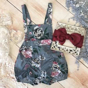 Boutique Baby Girls Gray Floral Romper & Headband